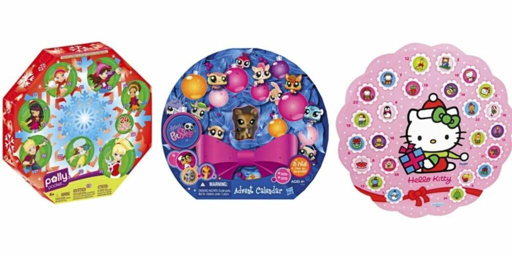 FOR JENTER: Vi tipper det er flest jenter som ønsker seg disse tre: Polly Pocket 8kr 189,90), Littlest pet shop (kr 149,90) og Hello Kitty (kr 189,90), alle fra Toys'r'us. Foto: produsenten