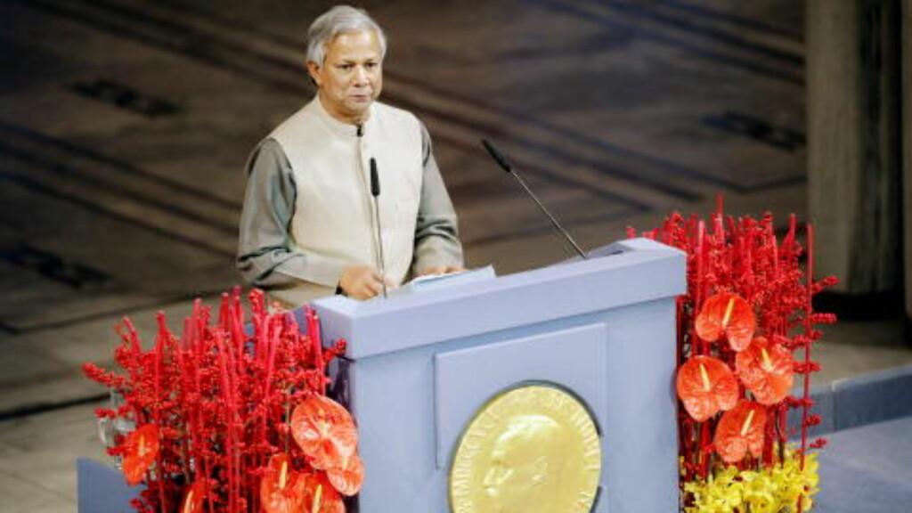 NOBELPRISEN 2006: Muhammad Yunus, leder av mikrokredittbanken Grameen Bank, fikk Nobelprisen i 2006. Frps Morten Høglund spør hvorvidt Yunus ville ha fått prisen om Nobelkomiteen hadde visst at han overførte bistandspenger til sitt eget firma. FOTO: ADRIAN ØHRN JOHANSEN / DAGBLADET