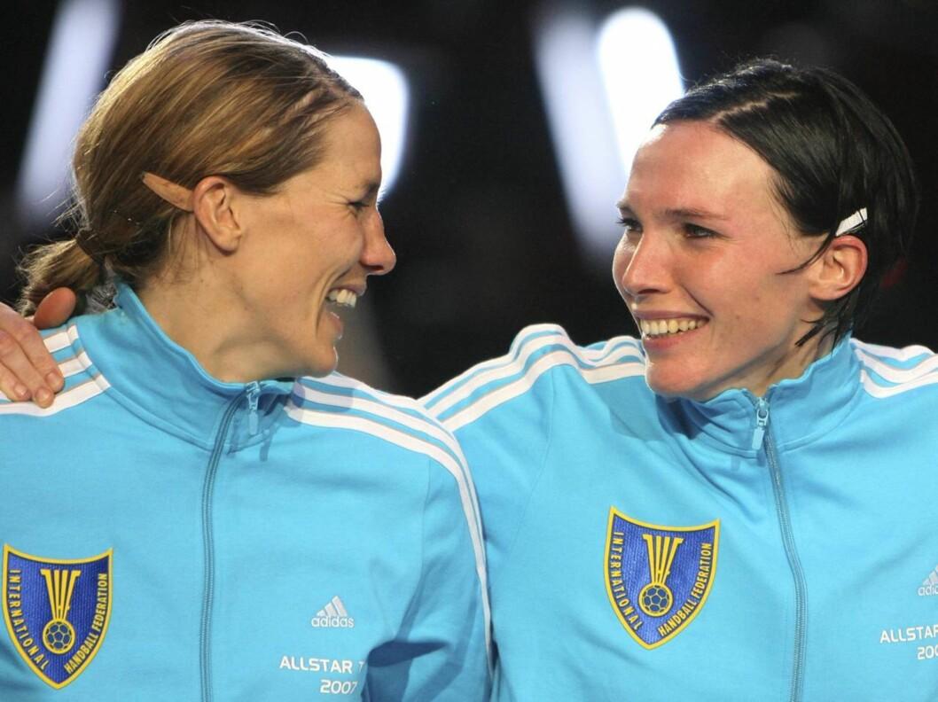 PAR 11: Håndballstjernene Gro Hammerseng og Katja Nyberg må trene aktivt for å holde seg på landslaget, og tilbringer mye tid sammen på trening.  Foto: SCANPIX
