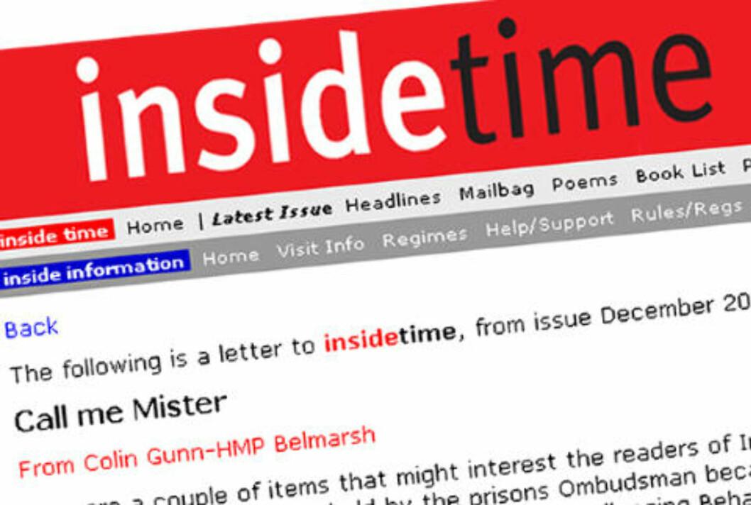 SKREV BREV: Colin Gunn oppfordrer andre innsatte som føler de ikke blir møtt med gjensidig respekt om å klage - slik han selv gjorde. Link til hele brevet ligger i artikkelen. FAKSIMILE: Inside Time