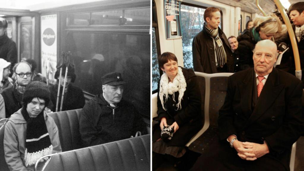 MØTTE KONGEN IGJEN: Berit Okkenhaug med kong Olav på trikken i 1973 og med kong Harald på t-banen 6. desember 2010.  Foto 1973: Odd Wentzel Foto 2010: Terje Bendiksby / Scanpix