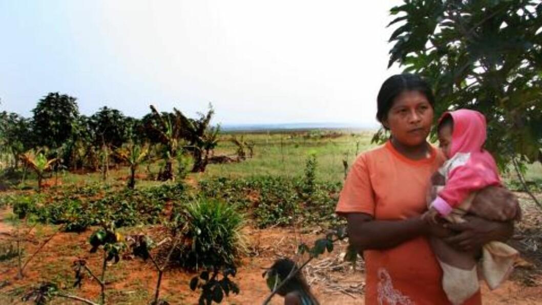 MISTET SKOG: Jorgelina Portillo er en del av urbefolkningen i Paraguay. Hun forteller hvordan de har mistet skogen de har vært så avhengig av. Foto: Marie Melgård