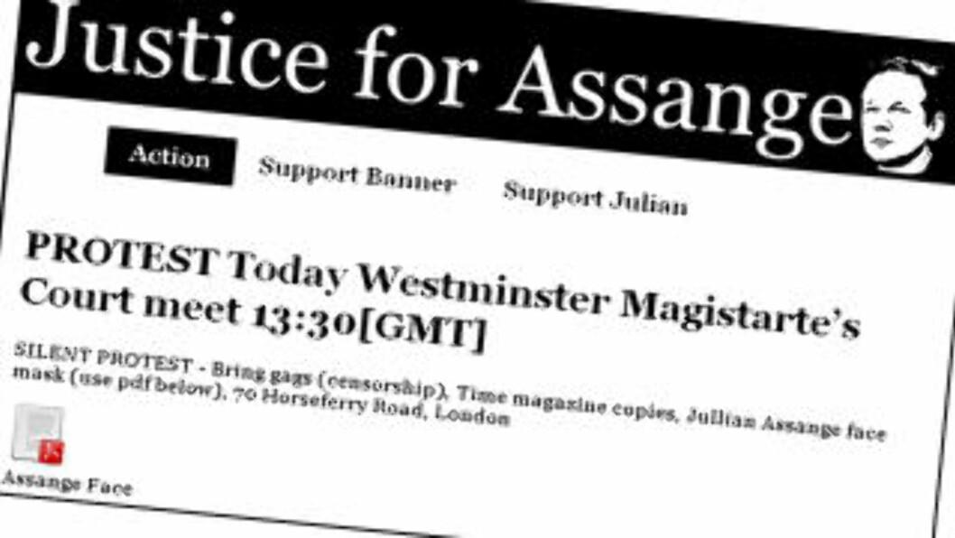 <strong>VARSLER DEMO:</strong> Kort tid etter at det ble kjent at Wikileaks-sjef Julian Assange hadde blitt pågrepet av politiet 9.30 lokal tid inviterte støttespillerne hans til stille protest. Foto: Faksimile