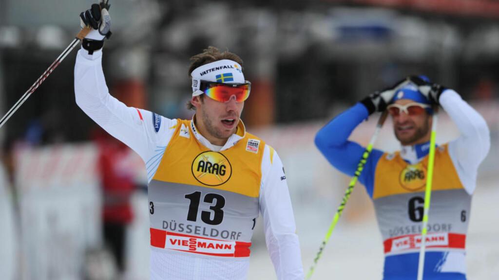 FIKK PASSET I SVEITS: Emil Jönsson sikret seg en ny v-cupseier i helgen, men ble for treig på landeveisturen til neste renn i Davos i helgen. Foto: AFP/PATRIK STOLLARZ