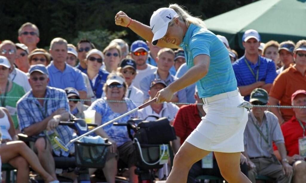 BIRDIEJUBEL: Suzann Pettersen har hatt en glimrende sesong, selv om seieren har uteblitt. Her jubler hun for putten som sikret 2.-plass i sommerens U.S. Open. Foto: Reuters/Scanpix