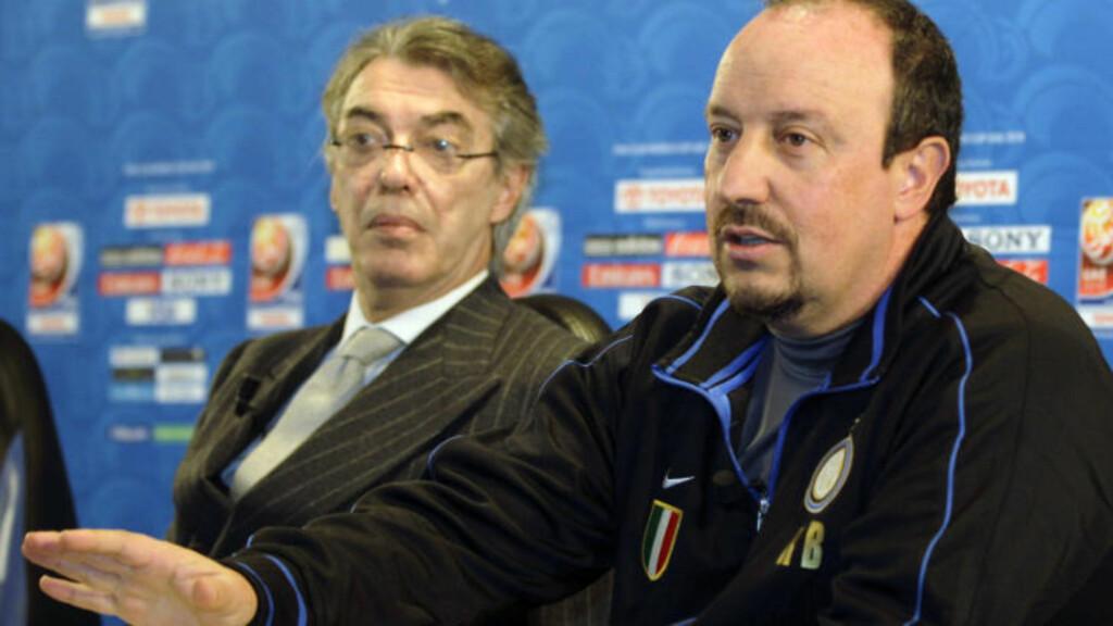 KREVER SEIER: Massimo Moratti gir klar beskjed til Benitez om hva han forventer seg i klubb-VM. Foto: AP/Luca Bruno