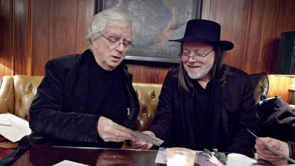 FOR OSLO: Lillebjørn Nilsen og Jan Erik Vold har sunget og skrevet mye om Oslo. De møttes for snart 45 år siden. - Jeg skulle skrive noen ord om Lillebjørn - det ble essay på 18 sider, sier Vold. Foto: Lars Eivind Bones