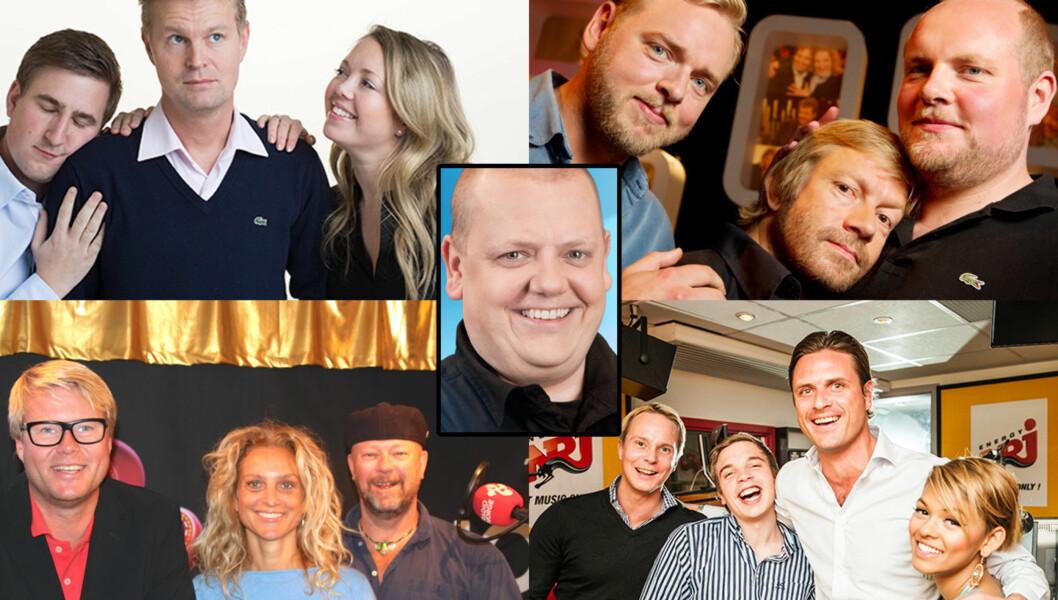 HVEM FORTJENER PRISEN?: Du kan stemme på P4s «Radiofrokost» (øverst til venstre), «Radioresepsjonen» (øverst til høyre), «Morgenklubben med Loven & co» (nede til venstre), «Lønsj» med Rune Nilson (midten) og «NRJ Morgenshowet» (nede til hø