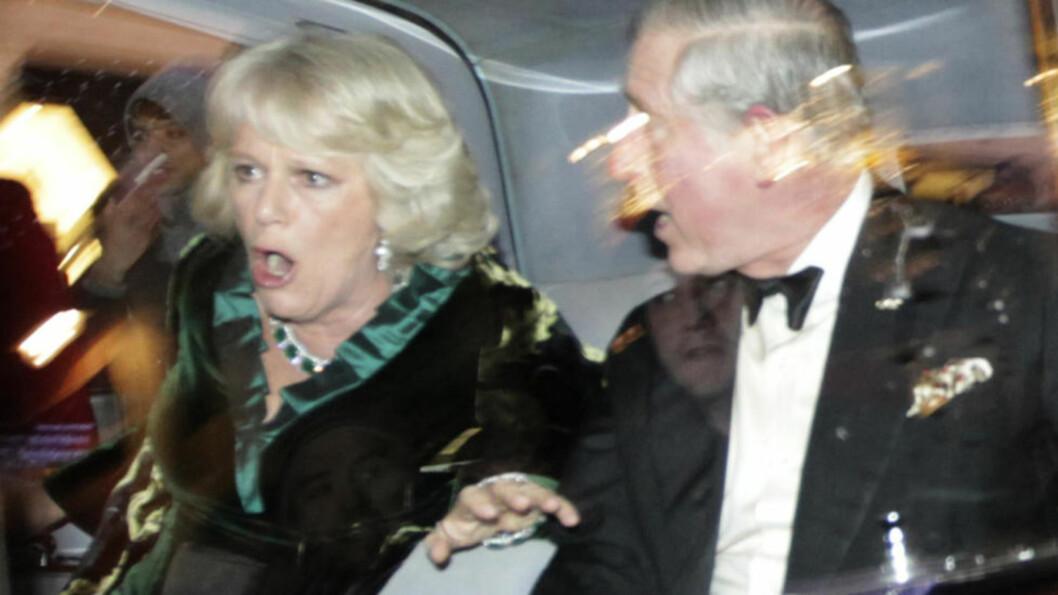 I FRYKT: Camilla og Charles ble vettskremt da demonstrantene slo til. Foto: AP/Matt Dunham/Scanpix