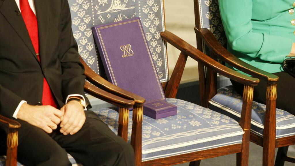 TOM STOL: Fredsprisvinner Liu Xiaobos stol sto tom i Oslo rådhus fredag, der Nobelkomiteens leder Thorbjørn Jagland ledet an i hyllesten av den fengslede kinesiske dissidenten. Foto: Håkon Mosvold Larsen, Scanpix.