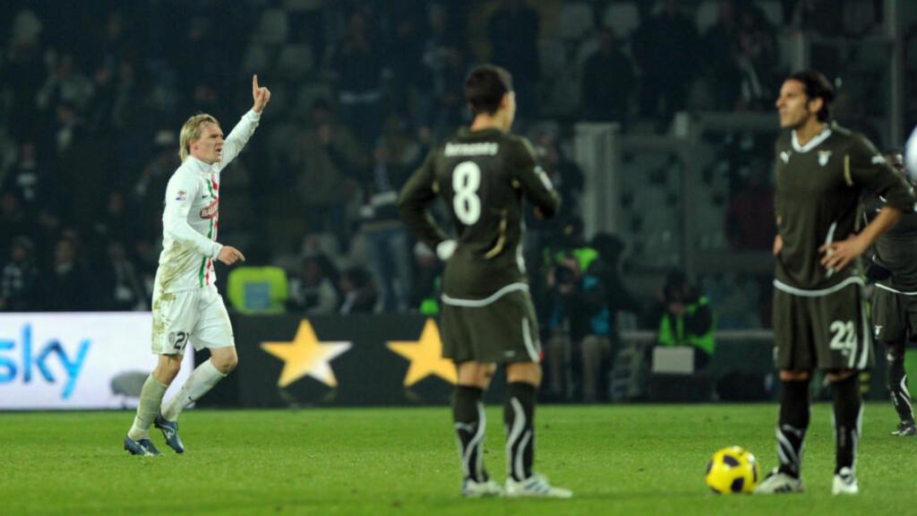 HELTEN: Milos Krasic ble dagens helt etter overtidsscoringen som sikret Juventus 2-1 over Lazio. Foto: SCANPIX/AFP/GIUSEPPE CACACE