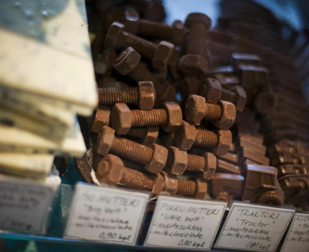 SÆRE GAVER: Hjemmelagde fristelser fra den lille sjokoladebutikken i Tallipiha.