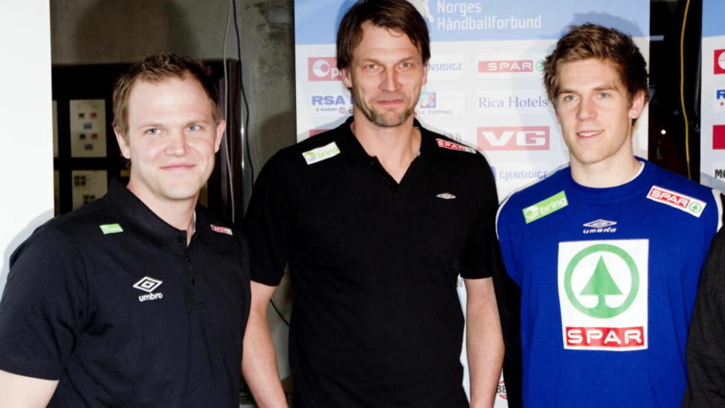 <strong>MED I TROPPEN:</strong> Kjetil Strand og Einar Sand Koren var med da Robert Hedin presenterte VM-troppen i ettermiddag. Foto: GORM KALLESTAD/SCANPIX