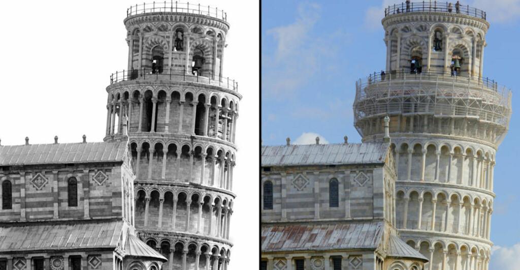IKKE LENGER SÅ SKEIVT: Bildet til venstre viser det skeive tårnet i Pisa i 1992 før rehabiliteringen. Til høyre er tårnet slik det framstår i dag. AFP PHOTO/SCANPIX