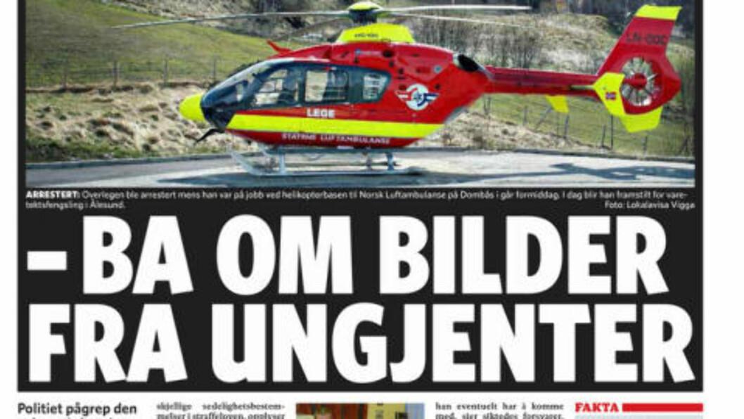 FAKSIMILE 27.10.2010:  Mann misten for overgrep mot hundrevis av barn og ungdommer. Mannen er lege overlege anestesilege og jobber blant annet i Norsk Luftambulanse.