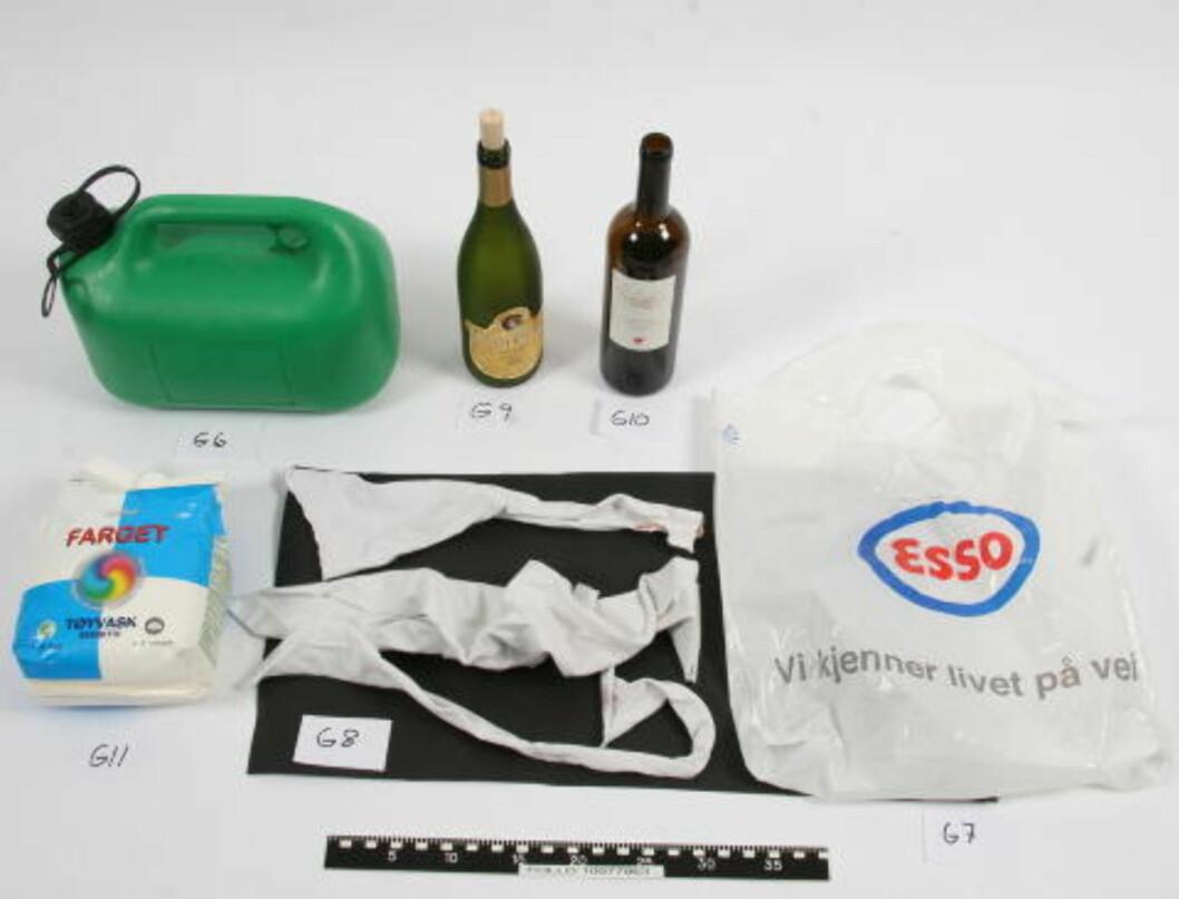 BILBRANN-UTSTYR: Politiet mener bensin blandet med vaskepulver og molotowcocktails skulle brukes til å sette fyr på noen av fluktbilene etter forbrytelsen. Foto: POLITIET