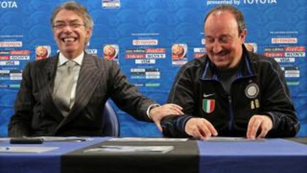 MÅTTE VINNE: Massimo Moratti skal være meget lite fornøyd med Benitez' utspill i Abu Dhabi. Foto: EPA/MATTEO BAZZI