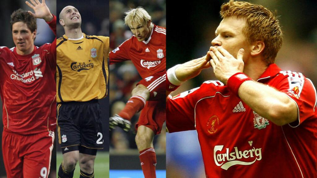 DE KLARESTE VALGENE: Disse fire fikk flest stemmer da Liverpool Echo-leserne kåret tiårets lag: Fra venstre Fernando Torres, Pepe Reina, Sami Hyypiä og John Arne Riise. Foto: Scanpix