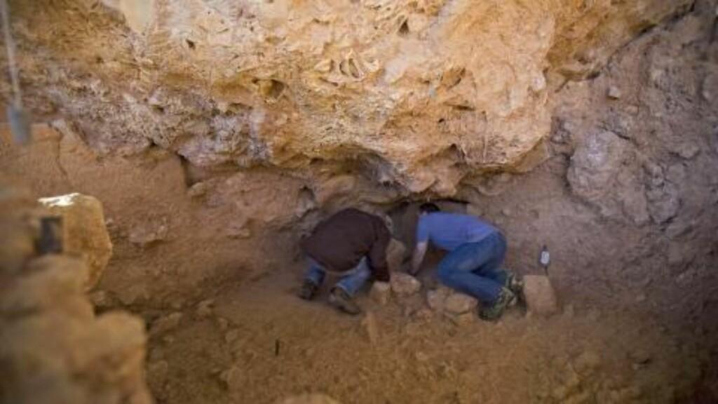 GRAVER I FORTIDA: Professor Avi Gopher og doktor Ran Barkai fra Institutt for arkeologi ved Tel Aviv-universitetet har gjort et spennende funn i dag. Foto: AP/Oded Balilty