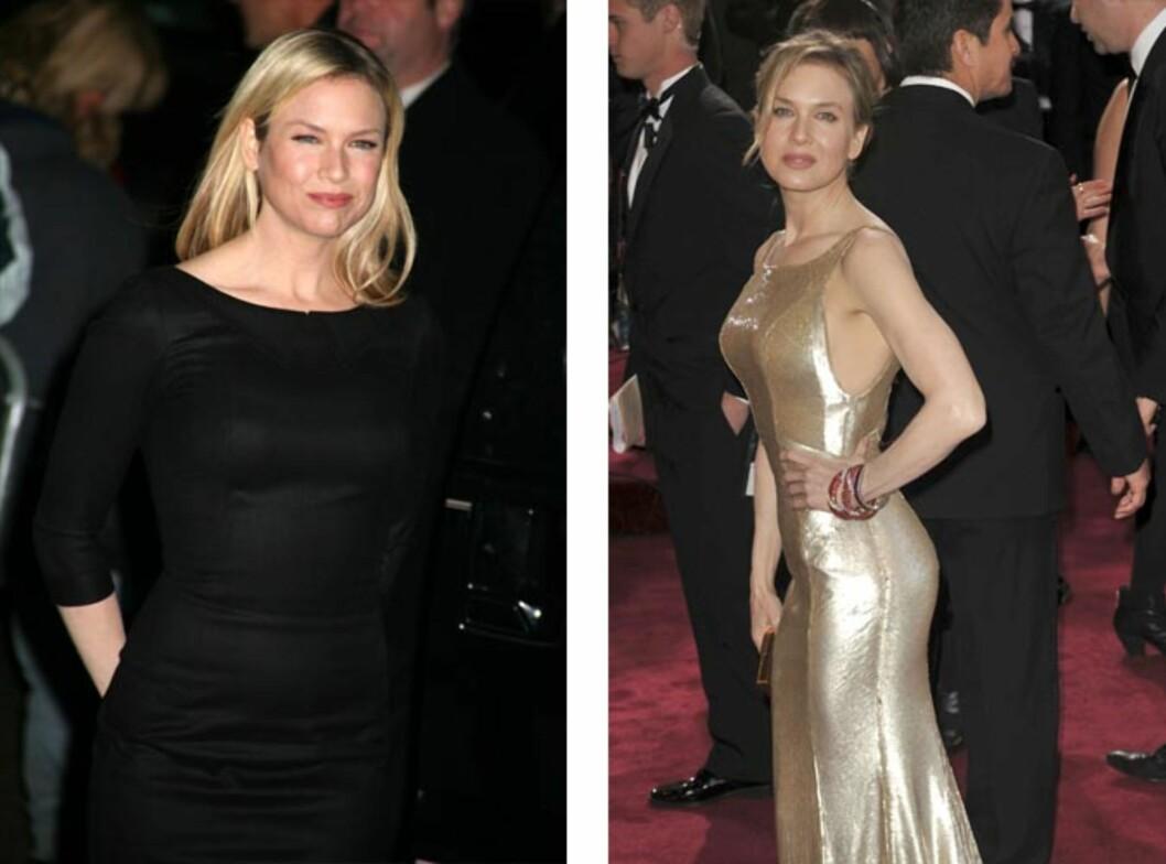 LA PÅ SEG: Renee Zellweger la på seg flere kilo i forbindelse med innspillingen av filmen Bridget Jones' Diary. Bildet til venstre er fra 2006, og det til høyre er tatt i februar i år. Foto: Stella Pictures