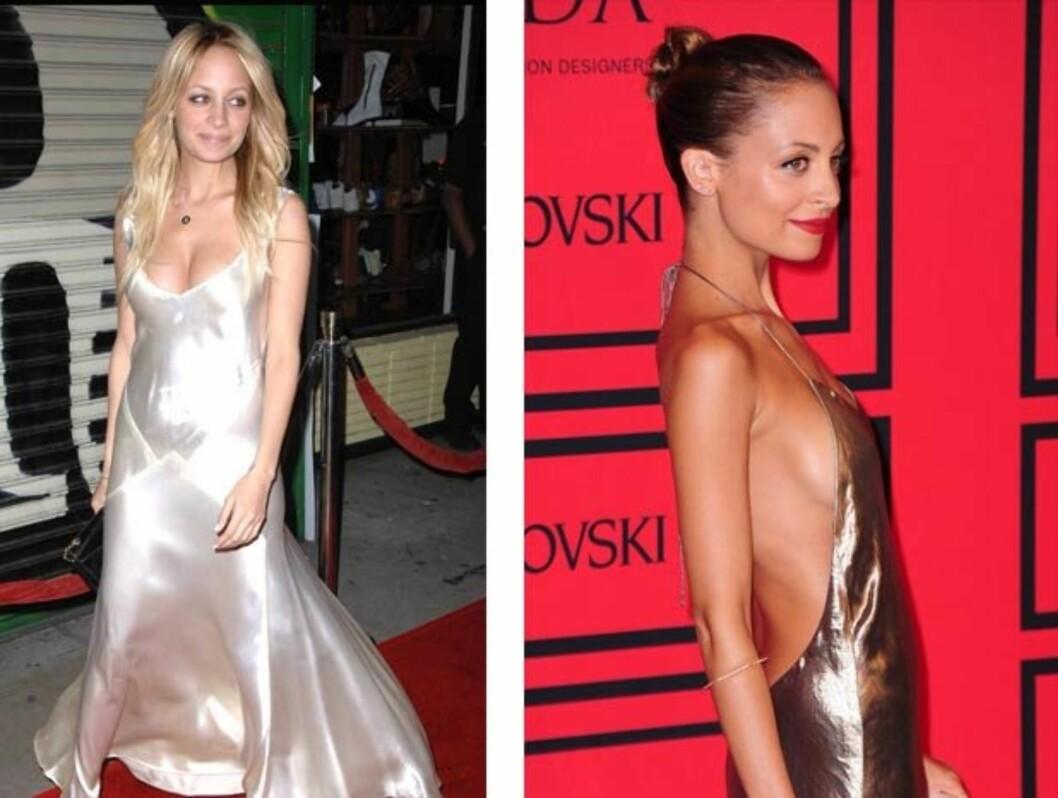 SYK: Etter at Nicole Richie slo igjennom i reality-serien The Simple Life med Paris Hilton i 2003, raste hun ned i vekt, og pådro seg anoreksi. I dag (bilde t.h.) er hun kvitt sykdommen, men har beholdt den tynne figuren. Foto: Stella Pictures