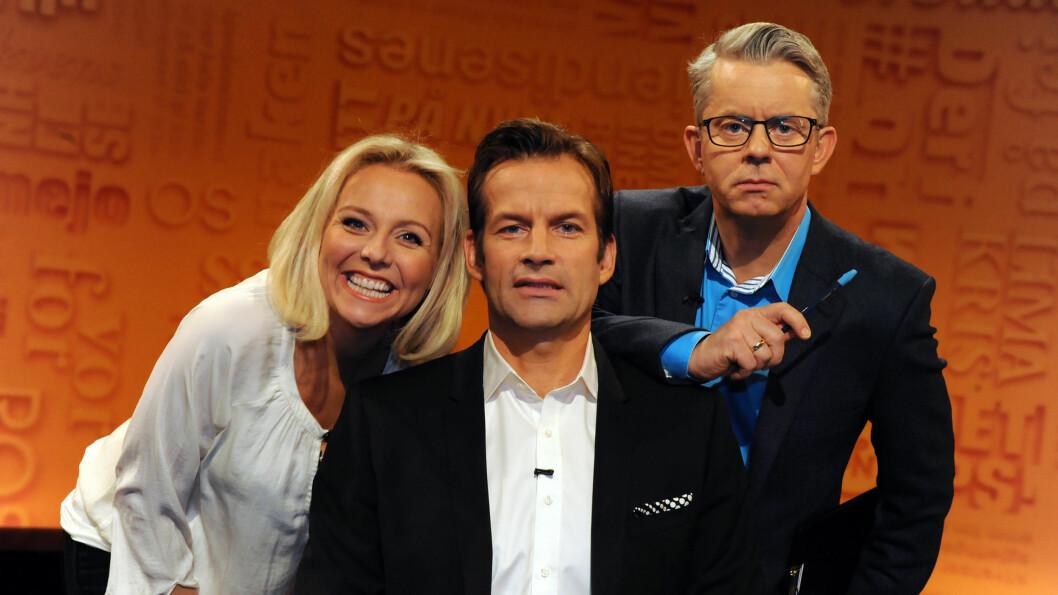 HUMOR-TRIO: Siden 2007 var Linn Skåber fast paneldeltager i «Nytt på nytt» sammen med Jon Almaas og Knut Nærum. Hun syntes det var svært trist å slutte i jobben.  Foto: FAME FLYNET
