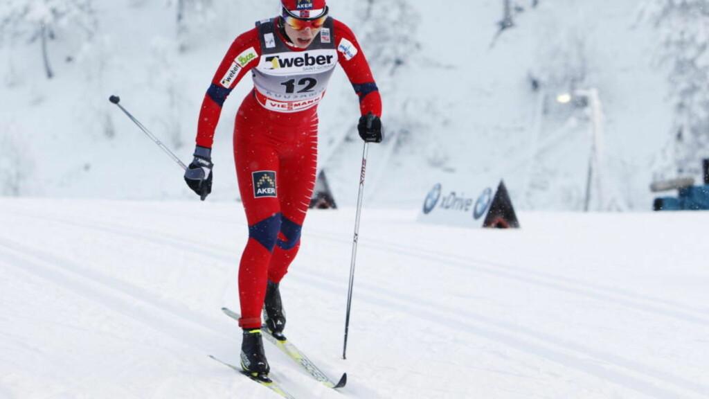 PÅ PALLEN FOR ANDRE GANG DENNE SESONGEN: Astrid Uhrenholdt Jacobsens åpning på Tour de Ski gir grunn til optimisme for det som skal skje utover uka.  Foto: Håkon Mosvold Larsen / Scanpix