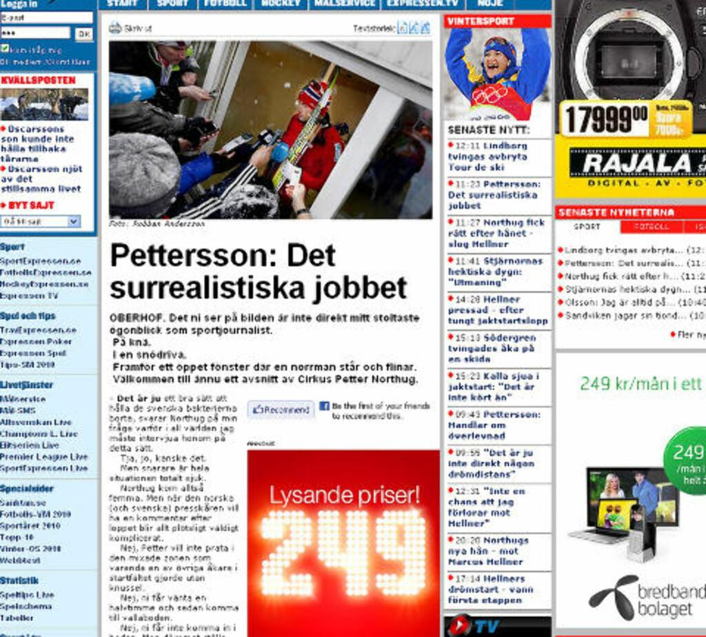 SURREALISTISK: Expressen om presseseansen med Northug. Faksimile: Expressen.se