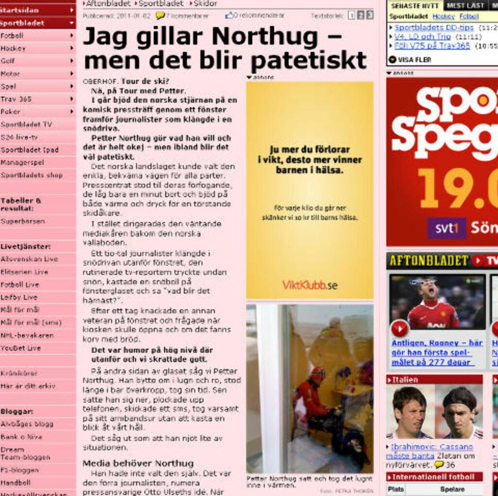 PATETISK: Aftonbladet om presseseansen med Northug. Faksimile: Aftonbladet.se
