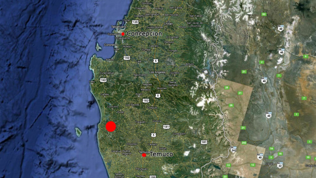 KRAFTIG JORDSKJELV: Et kraftig jordskjelv rammet i dag Chile. Foto: Google Maps/Dagbladet