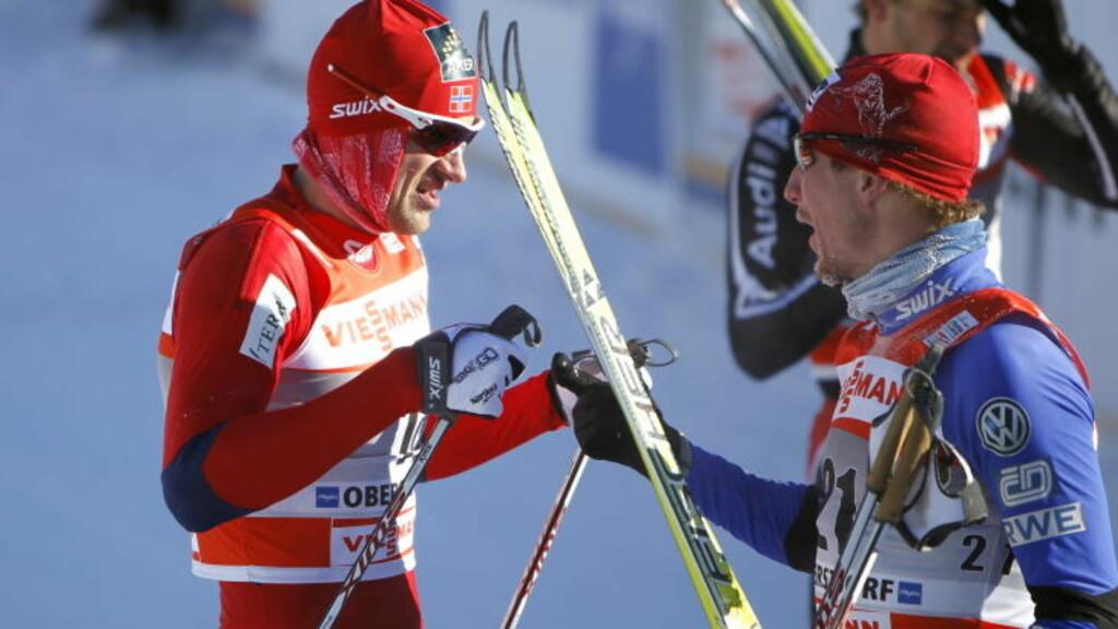 FIKK KJEFT: Lukas Bauer sa hva han mente om Northugs kjøring etter målgang. Foto: Gorm Kallestad / Scanpix