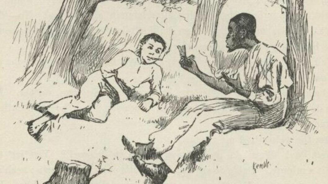 RASISTISK? Mark Twains «Huckleberry Finn», om den unge gutten Huckleberry Finn og hans reise nedover Missisippi sammen med den rømte slaven Jim, blir av mange regnet som en av verdens første antirasistiske romaner. Men mange av ordene i boka fra 1884 blir i dag regnet som svært rasistiske. Foto: FRA BOKA, VIA GUTENBERG.ORG