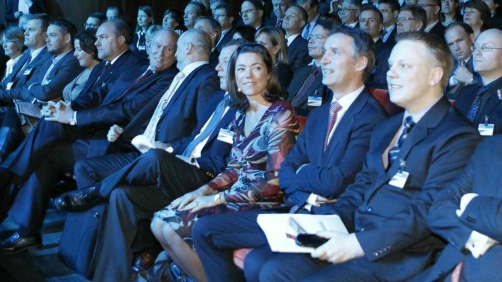 NHO årskonferanse: Statsminister Jens Stoltenberg og NHO-president Kristin Skogen Lund på årets NHO-konferanse.. Foto: Berit Roald / Scanpix