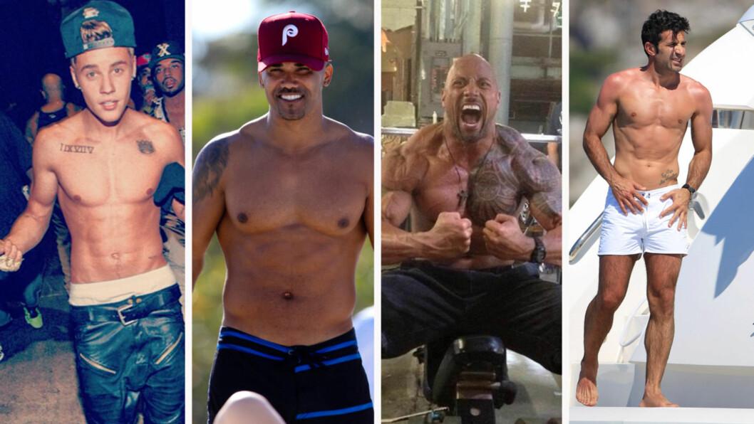 <strong>MUSKELMENN:</strong> Justin Bieber, Shemar Moore, Dwayne Johnson og Luis Figo har jobbet med kroppen før sommeren.