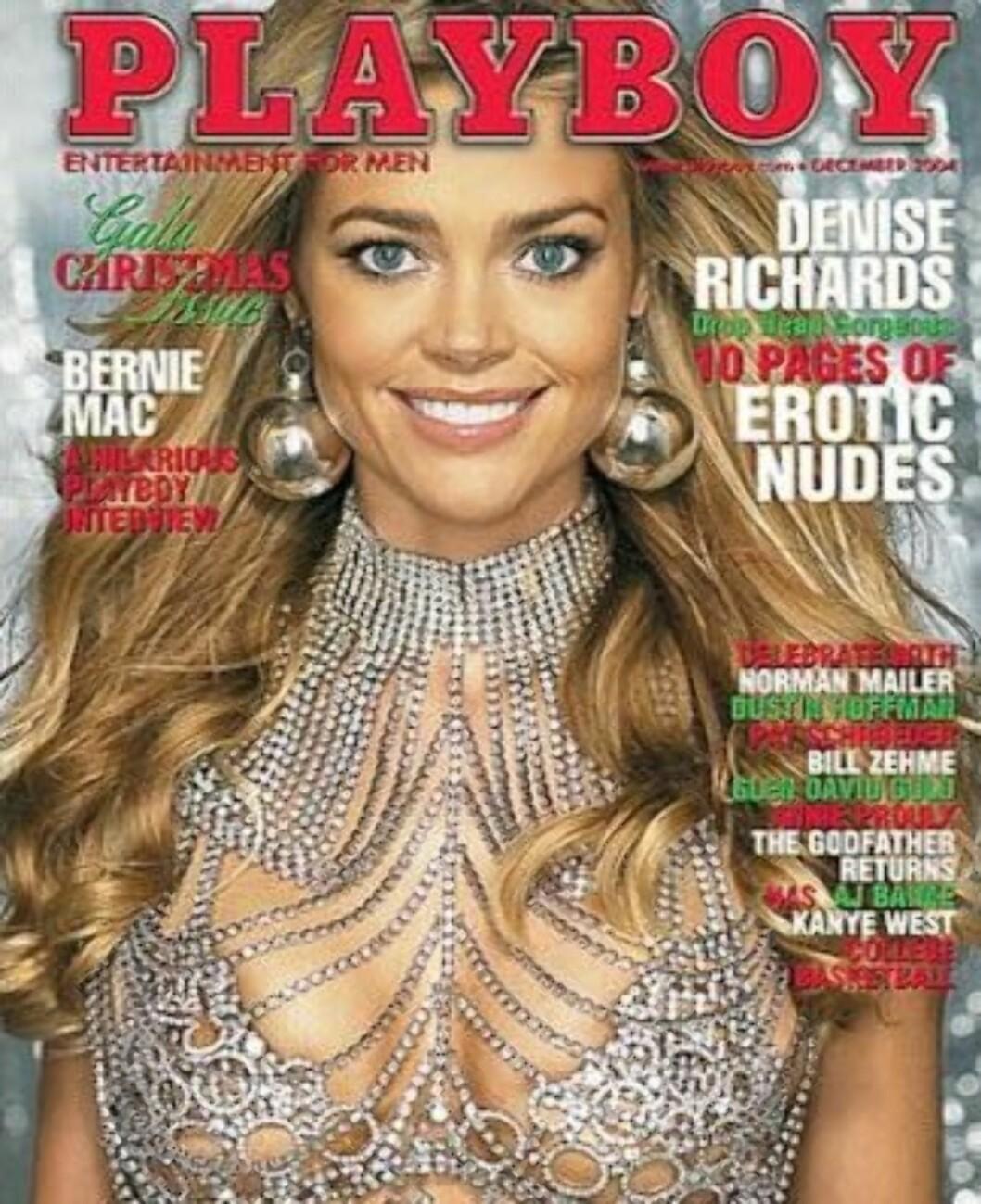 SVIMLENDE SUM: Skuespiller Denise Richards er en av Hollywood-kjendisene som har fått mest utbetalt for å stille opp lettkledd for Playboy. I 2004 fikk hun 12 millioner for denne forsiden. Foto: Faksimile