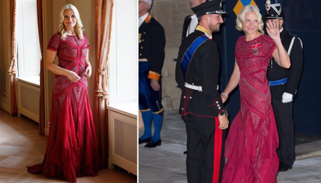 48ee4a8d GJENBRUK: Kronprinsesse Mette-Marit dukket i oktober i fjor opp i denne  røde kjolen