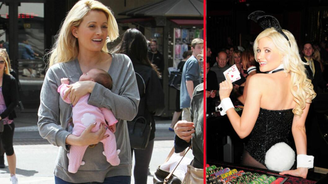 SOM MOR, SÅ DATTER?: Tidligere Playboy-modell Holly Madison var kanskje inspirert av sitt gamle yrke da hun valgte ut datterens kanindrakt til shoppingturen på The Grove mandag (t.v). På jobb på The Playboy Club i Las Vegas i 2010 var Holly selv ifør Foto: All Over Press, Stella Pictures