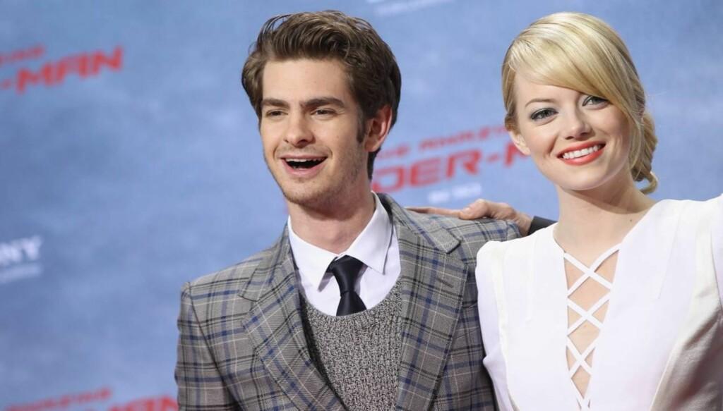 KOLLEGAER: Emma Stone og kjæresten Andrew Garfield spiller mot hverandre i «The Amazing Spider-Man». Foto: All Over Press