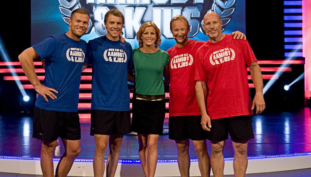 <strong>NY SESONG:</strong> Kjetil André Aamodt og Lasse Kjus er tilbake med en ny sesong av «Hvem kan slå Aamodt og Kjus?». Pia Lykke er som vanlig programleder, men denne gangen uten baby i magen. Foto: TVNorge