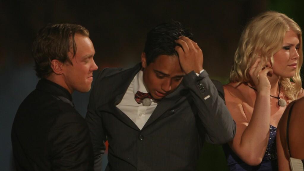 TRODDE IKKE SINE EGNE ØYNE: Miguel Kristiansen trodde han hadde vunnet 150 000 kroner i årets «Paradise Hotel»-finale, helt til han ble lurt på målstreken av sin partner.  Foto: TV3