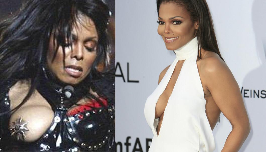 NÆR REPRISE: Janet Jackson så ut til å ha glemt alt oppstyret etter Super Bowl (bilde til venstre), da hun kom den røde løperen i Cannes.  Foto: FameFlynet Norway