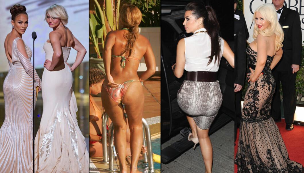ALLE JENTER SPØR: «Ser rumpa mi stor ut i denne?» Fra venstre Jennifer Lopez, Cameron Diaz, Beyonce Knowles, Kim Kardashian og Christina Aguilera. Foto: All Over Press / FameFlynet