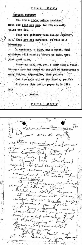 «NOEN VIL TA DEG»: Dette håndskrevne brevet, renskrevet av FBI på arket over, er en av over hundre drapstrusler som er gjengitt i det omfattende materialet som ble frigitt i dag.