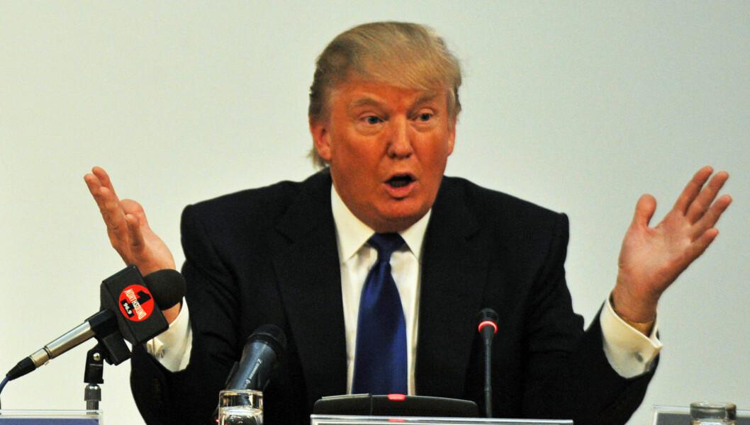 POLITISK AKTIV: Her taler Donald Trump på en konferanse om grønn energi.  Foto: All Over Press