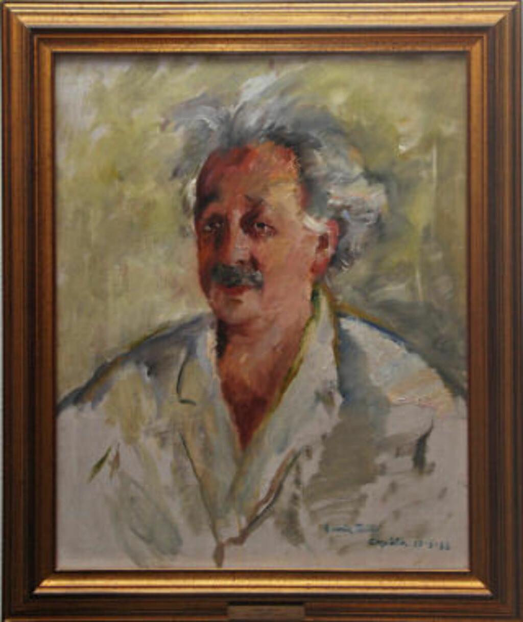 PORTRETT: Som en slags ettervirkning av Einsteins Oslo-besøk fikk samtidas fremste portrettmaler, Henrik Lund, besøke professoren for å lage et portrett. Nå henger det nyoppusset i Det Norske Videnskapsakademis lokaler. Foto: Eirik Baardsen