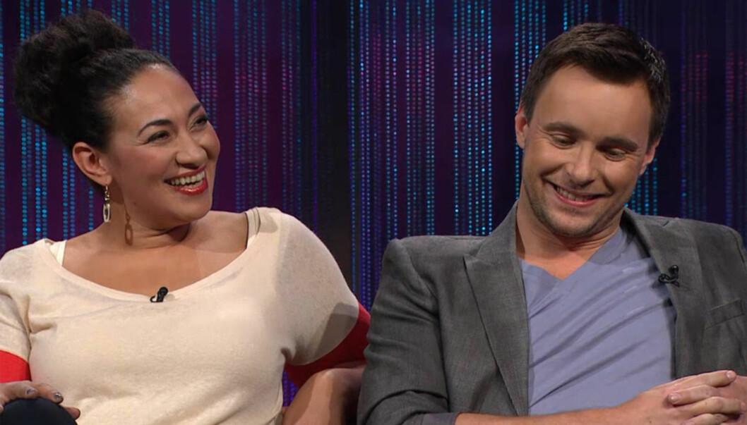 DRO PÅ DATE: TV 2-profilene Sarah Natasha Melbye og Stian Barsnes Simonsen avslørte på programmet «Senkveld» fredag at de for åtte-ni år siden dro på en romantisk date. Foto: TV 2