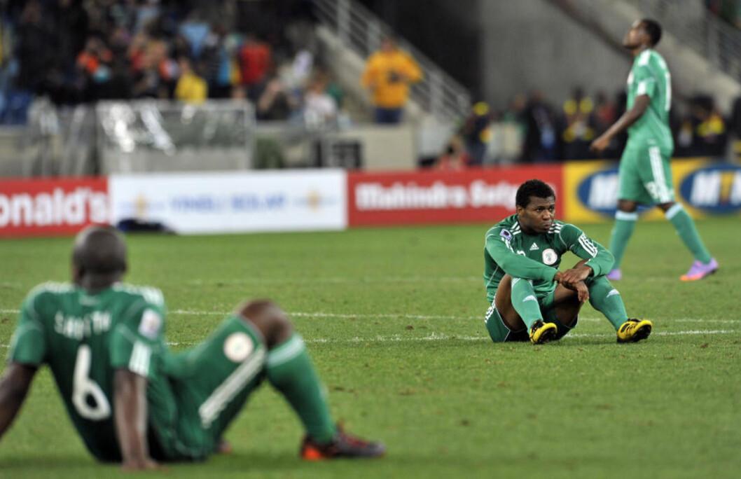 <strong>I FIFAS SØKELYS:</strong> Nigeria risikerer å miste inntektene fra årets VM-sluttspill etter at regjeringen i landet blandet seg inn i interne prosesser i fotballforbundet.Foto: SCANPIX/AFP PHOTO / ARIS MESSINIS