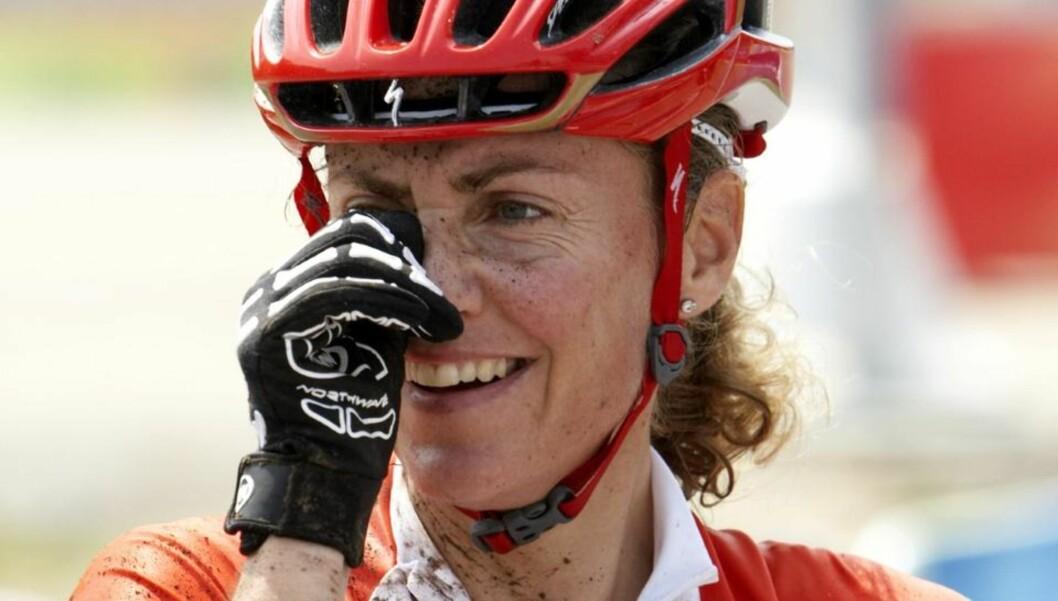 <strong>SØLVVINNER:</strong> Gunn-Rita Dahle Flesjå syklet inn til sølv i maraton-EM i terrengsykling søndag.Foto: Cornelius Poppe / SCANPIX