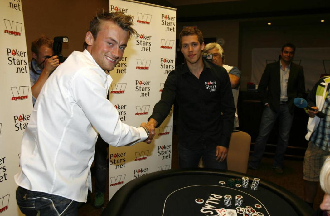 <strong>TAPTE:</strong> Petter Northug måtte gi tapt for Marcus Hellner i nattas oppvarming til poker-VM. Foto: Tormod Brenna / Dagbladet