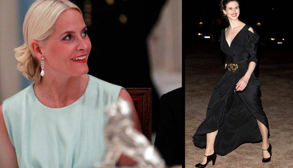 VAKTE EKSTASE: Ingrid Lorentzen ankom det kongelige selskap i en sort lang kjole, med en splitt langt opp på låret. Et vågalt, men svært heldig valg for skjønnheten. Kronprinsesse Mette-Marit gikk for en mer enkel stil. Foto: Andreas Fadum/Se og Hør